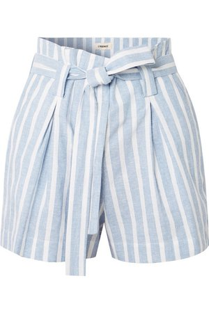 L'Agence | Alex belted striped linen and cotton-blend shorts | NET-A-PORTER.COM