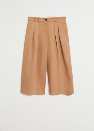 Pleated bermuda shorts - Women   Mango USA brown