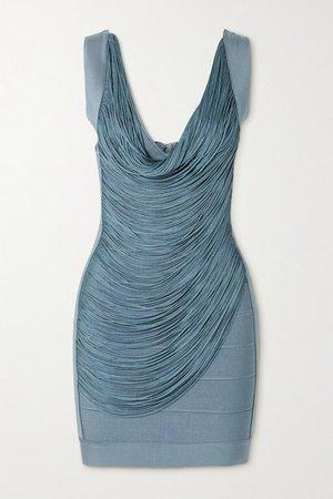 Draped Fringed Bandage Mini Dress - Light blue