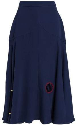 Satin-paneled Silk-cady Midi Skirt