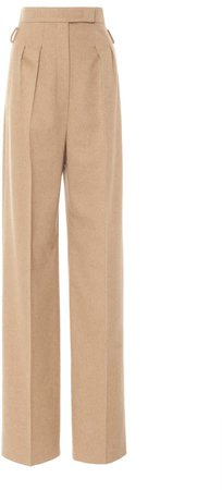 Max Mara Break Pleated Camelhair High-Rise Straight-Leg Trousers