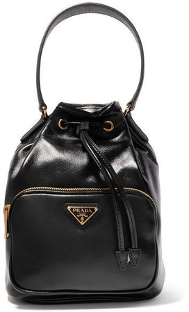 Vela Small Leather Bucket Bag - Black