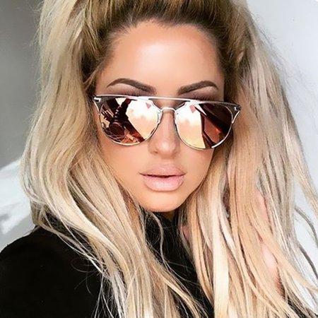 2017 Fashion Brand Designer Cat Eye Mirror Rose Gold Sunglasses Metal Lady Flat Lens UV400 Women Men Sun Glasses Hot