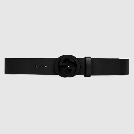 Black Leather Belt With Matte Black Interlocking G | GUCCI® US