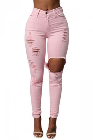 high waisted ripped jeans -pink