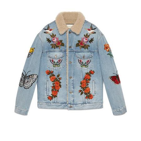 Embroidered denim jacket with shearling - Gucci Men's Denim 408623XR2404417