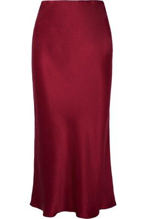 Olivia von Halle | Isla silk-satin midi skirt | NET-A-PORTER.COM