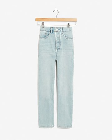 Super High Waisted Light Wash Straight Jeans