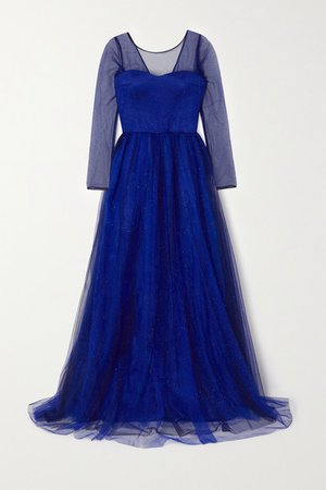 Glittered Tulle Gown - Blue