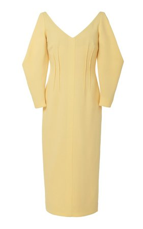 Calla Button Front Wool-Crepe Dress by Emilia Wickstead | Moda Operandi