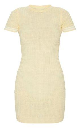 Yellow Stripe Sleeve Knitted Mini Dress   PrettyLittleThing USA