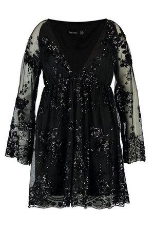 Plus Floral Sequin Wrap Skater Dress | boohoo