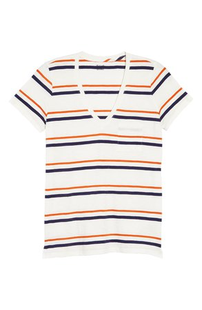 Madewell Smithly Stripe Whisper Cotton V-Neck Pocket T-Shirt (Regular & Plus Size) | Nordstrom