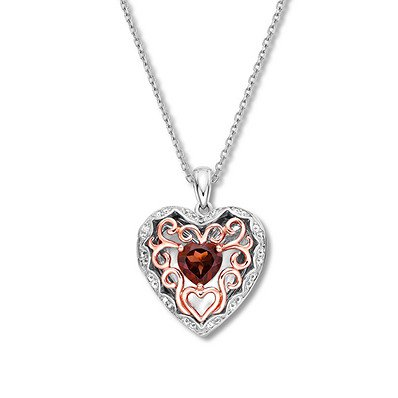 Garnet Heart Locket White Topaz 10K Two-Tone Gold - 491225900 - Jared