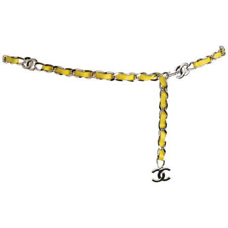 "Chanel Yellow Leather Silver Chain Belt With Silver ""CC"" Logo For Sale at 1stdibs"