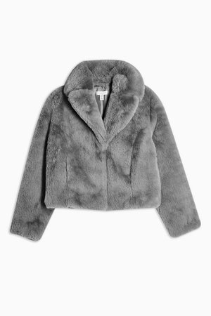Grey Cropped Faux Fur Coat | Topshop grey