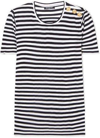 Button-embellished Striped Jersey T-shirt - Black