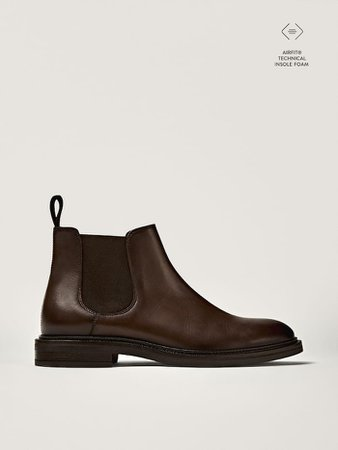 Brown nappa leather sock ankle boots - Erkek - Massimo Dutti