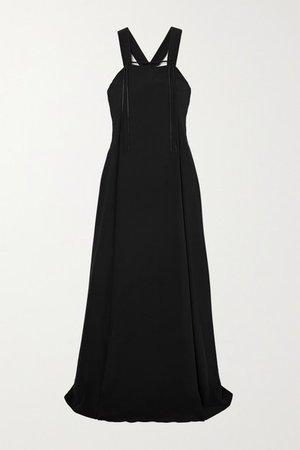 Satin-trimmed Silk-crepe Maxi Dress - Black