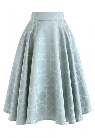 Grid Jacquard Satin Midi Skirt in Blue - Skirt - BOTTOMS - Retro, Indie and Unique Fashion