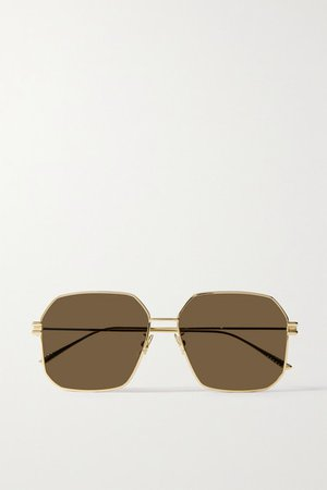 Bottega Veneta | Hexagon-frame gold-tone sunglasses | NET-A-PORTER.COM