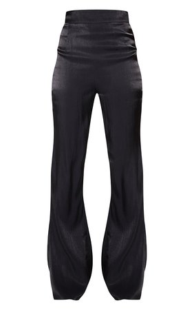 Black Iridescent Flared Trousers   PrettyLittleThing