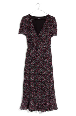 Madewell Button Sleeve Wrap Midi Dress | Nordstrom