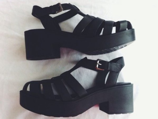 shoes, grunge, grunge shoes, platform shoes, platform sandals, black chunky sandals, black boots, black, black sandals, platform shoes, sandals, platform shoes, summer, caged, cute, white, black shoes - Wheretoget