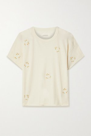 The Crop Embroidered Cotton-jersey T-shirt - Off-white