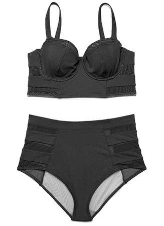 adore me black highwaist Natalya plus swim suit
