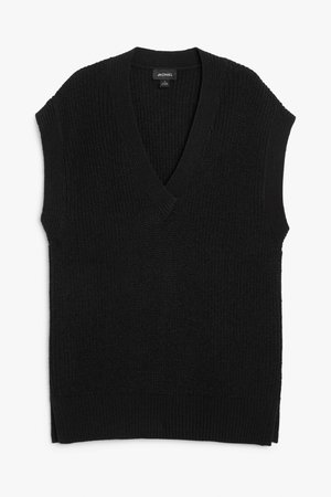 Pullover knit vest - Black - Knitted tops - Monki WW