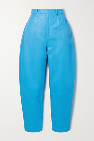Leather Tapered Pants - Blue