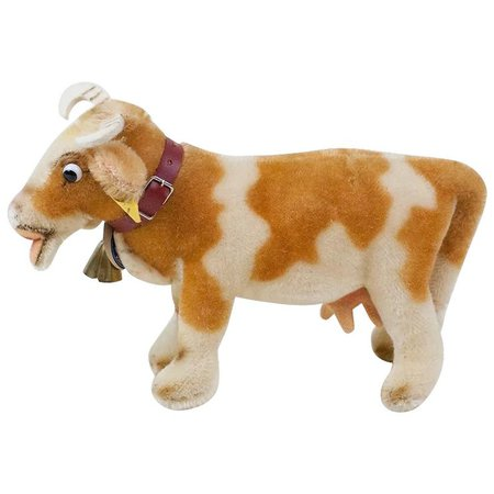 """1950s German Steiff """"Bessy"""" Cow with Glass Googly Eyes and All ID : Fun City 