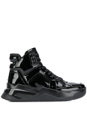 Black Balmain Patent Leather High-top Sneakers | Farfetch.com
