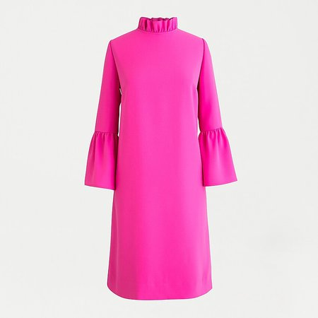 J.Crew: Ruffle-neck Shift Dress In 365 Crepe pink