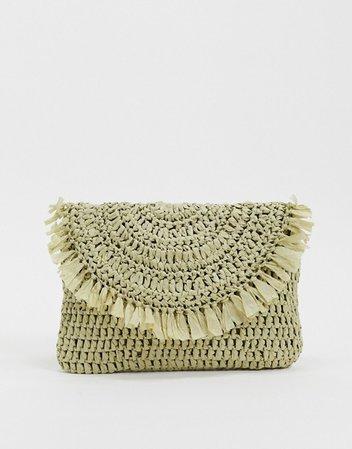ASOS DESIGN straw clutch bag in pistachio | ASOS