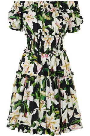 Dolce & Gabbana | Off-the-shoulder ruffled floral-print cotton-poplin dress | NET-A-PORTER.COM