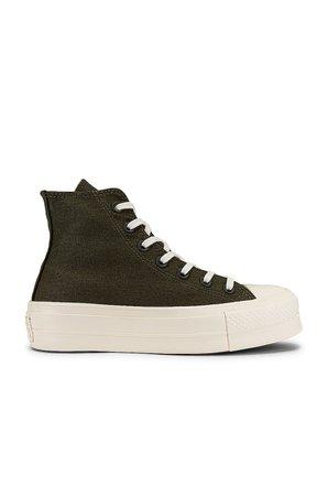 Converse Chuck Taylor All Star Lift Hi Sneaker in Cargo Khaki, & Egret | REVOLVE