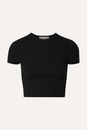 Black Esmée cropped ribbed stretch-jersey T-shirt | calé | NET-A-PORTER