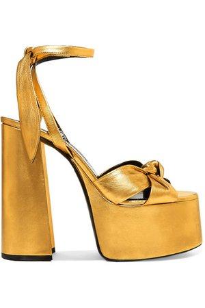 Saint Laurent | Paige metallic leather platform sandals | NET-A-PORTER.COM