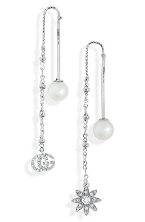 Gucci Flora Diamond & Cultured Pearl Threader Earrings | Nordstrom