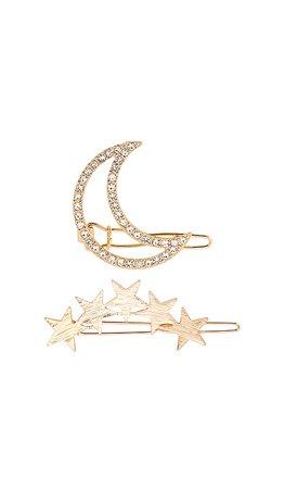Ettika Stars and Moon Set of 2 Barrettes in Gold | REVOLVE