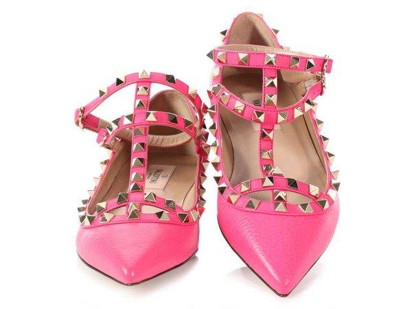 Valentino Hot Pink Rockstud Ballerina Flats - Ann's Fabulous Closeouts