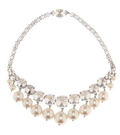 Crystal and faux-pearl necklace