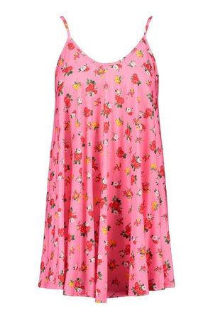 Floral Print Strappy Swing Dress | boohoo pink