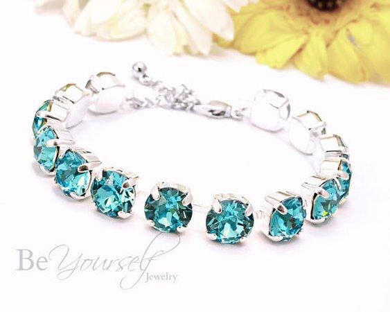 Teal Blue Bridal Bracelet Sea Green Bride Bracelet Swarovski