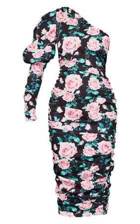 Black Rose Print One Shoulder Ruched Midi Dress | PrettyLittleThing USA