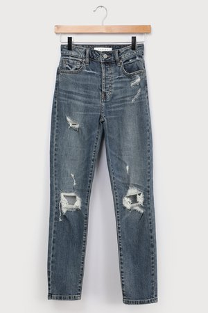 Dark Wash Mom Jeans - Ripped High-Waisted Jeans - Denim Jeans - Lulus