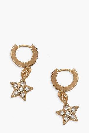 Diamante Star Huggie Hoop Earrings | Boohoo