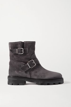 Youth Ii Buckled Suede Ankle Boots - Gray